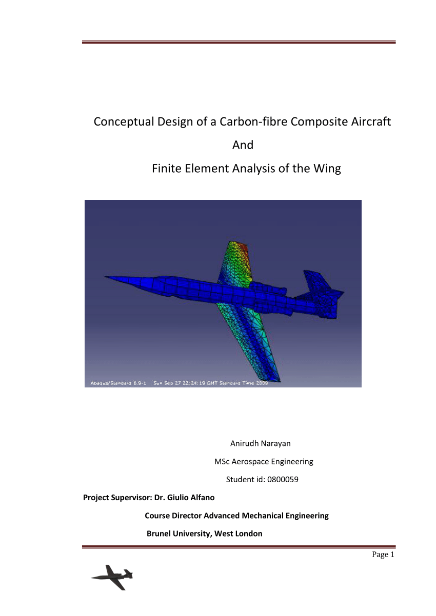 hight resolution of  pdf conceptual design of a carbon fiber composite aircraft and fea of the wing
