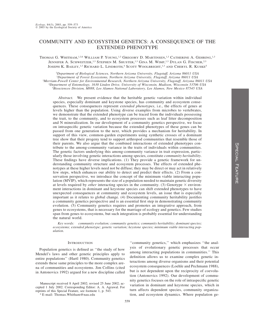 (PDF) Community and ecosystem genetics: A consequence of