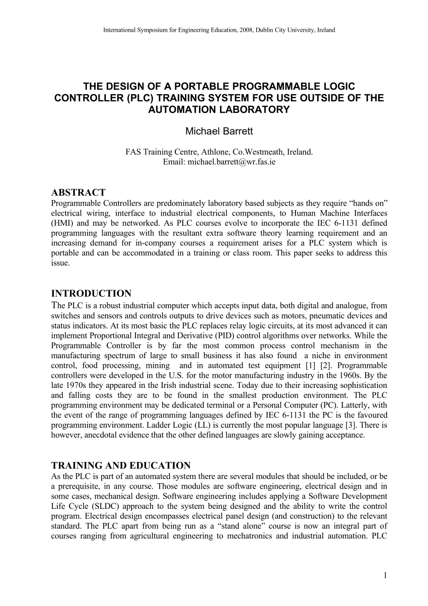 medium resolution of  pdf development of a programmable logic controller training platform for the industrial control of processes
