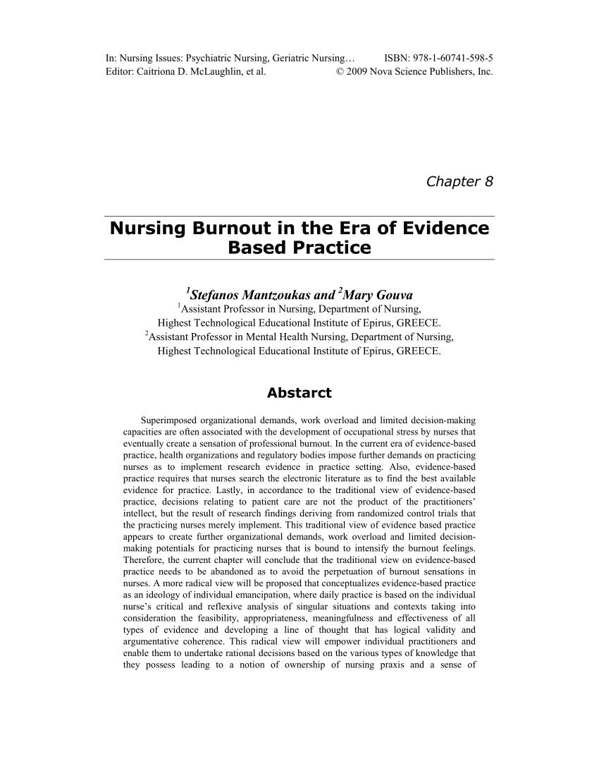 PDF Nursing Burnout In The Era Of Evidence Based Practice