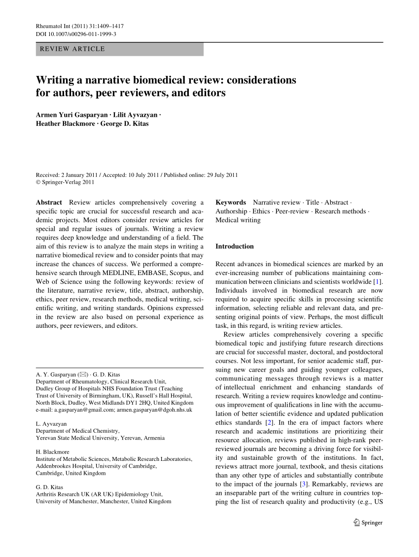 PDF Writing A Narrative Biomedical Review Considerations For