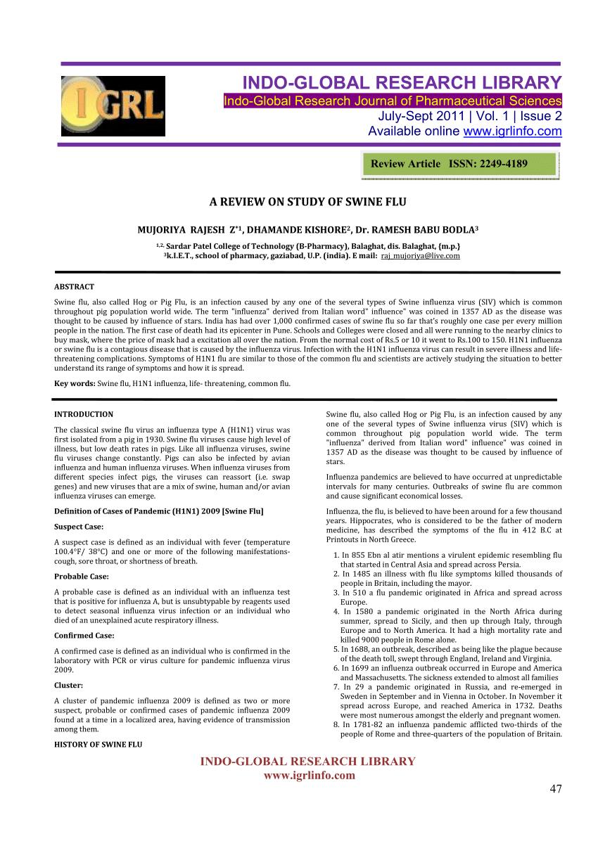 PDF) A REVIEW ON STUDY OF SWINE FLU