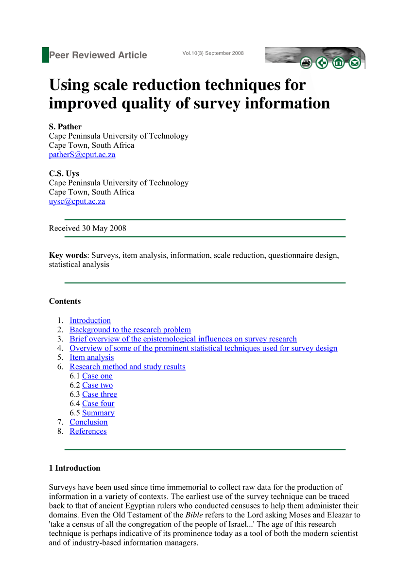 PDF Using Scale Reduction Techniques For Improved Quality Of