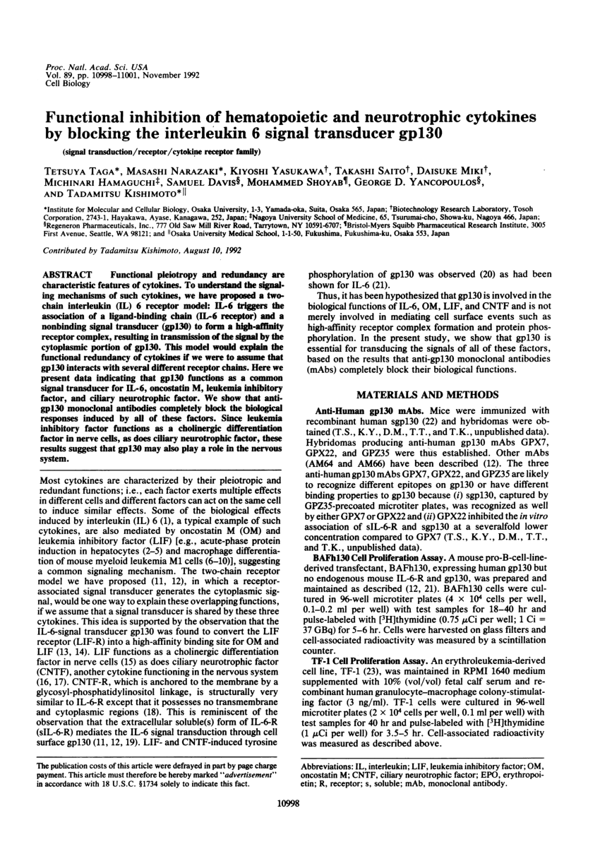 hight resolution of  pdf functional inhibition of hematopoietic and neurotrophic cytokines by blocking the interleukin 6 signal transducer gp130
