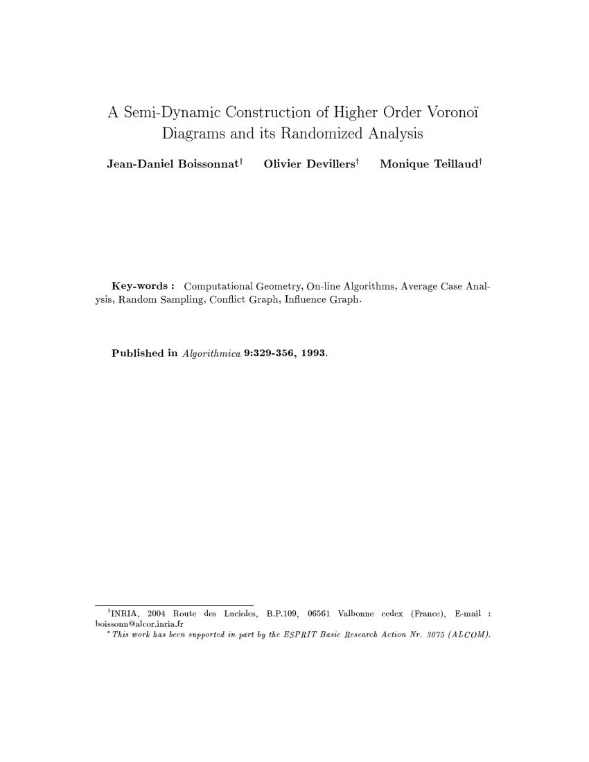 medium resolution of  pdf a semidynamic construction of higher order voronoi diagrams and its randomized analysis