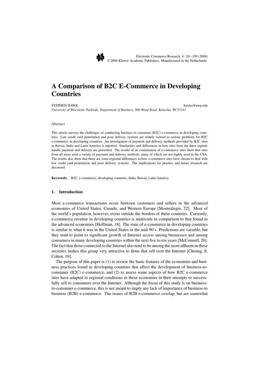 PDF A Comparison Of B2C E Commerce In Developing Countries