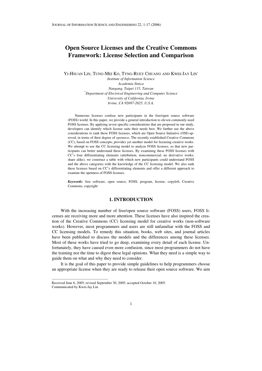 (PDF) Open Source Licenses and the Creative Commons Framework: License Selection and Comparison.