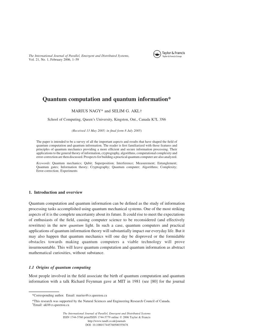 PDF Quantum Computation And Quantum Information