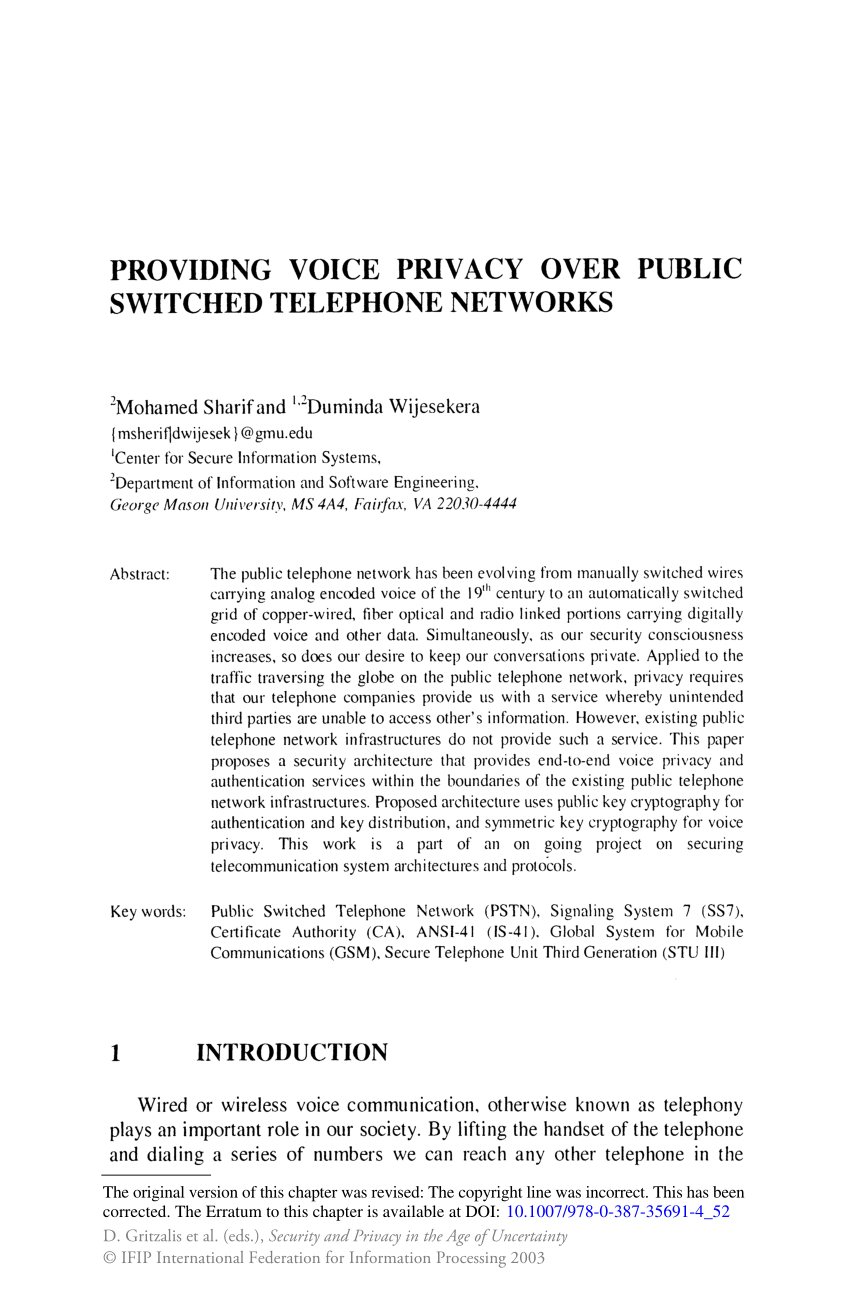 medium resolution of  pdf providing voice privacy over public switched telephone networks