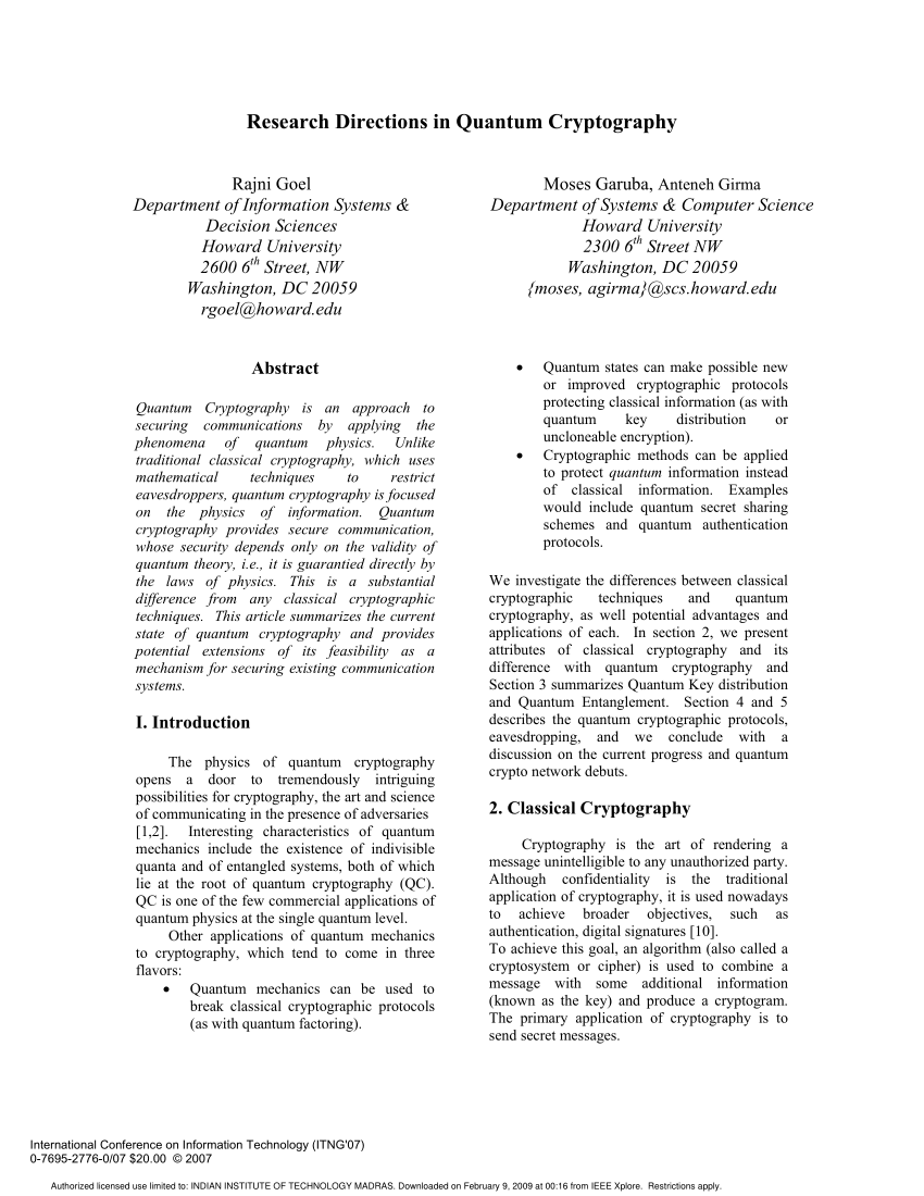 PDF Research Directions In Quantum Cryptography