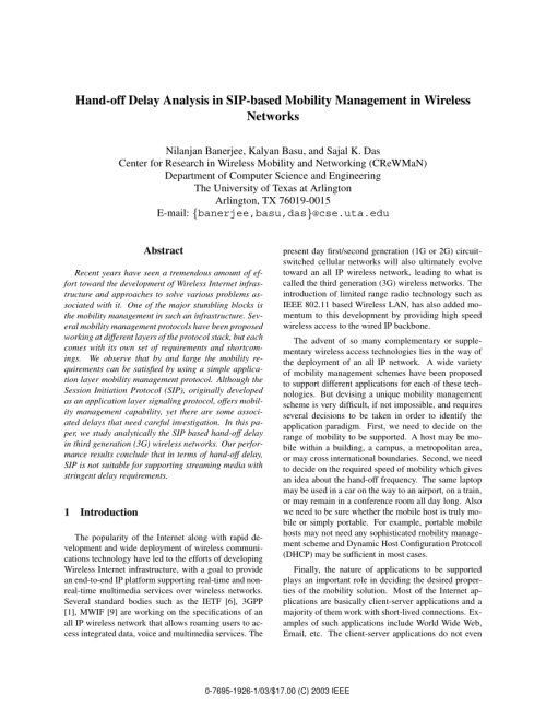 small resolution of  pdf hand off delay analysis in sip based mobility management in wireless networks