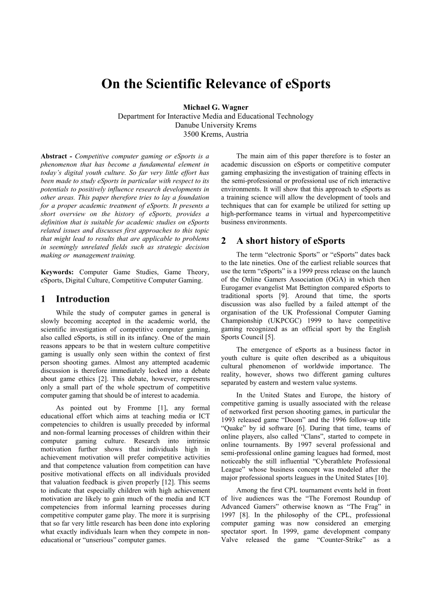 PDF On The Scientific Relevance Of ESports