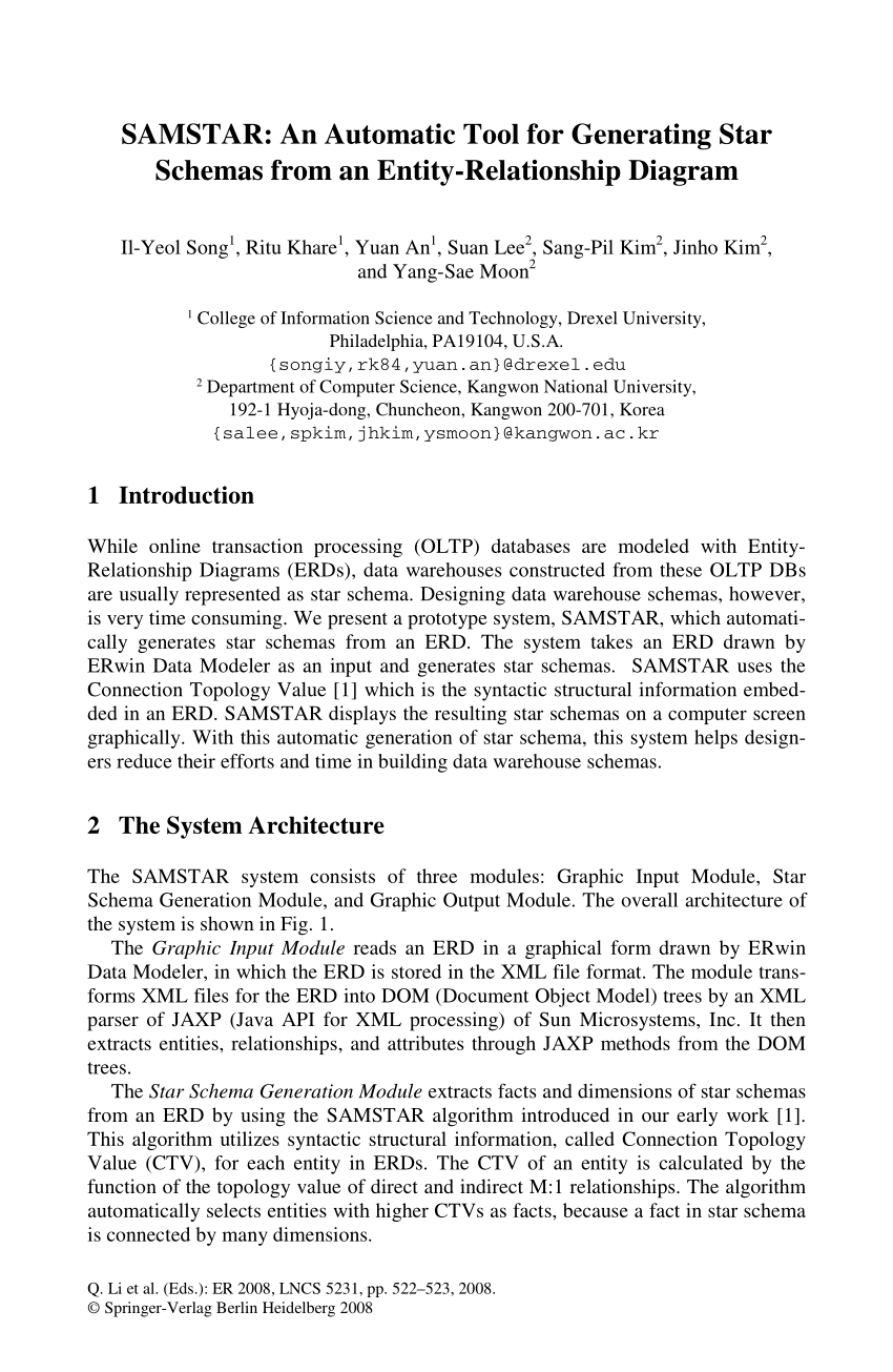 hight resolution of  pdf samstar an automatic tool for generating star schemas from an entity relationship diagram