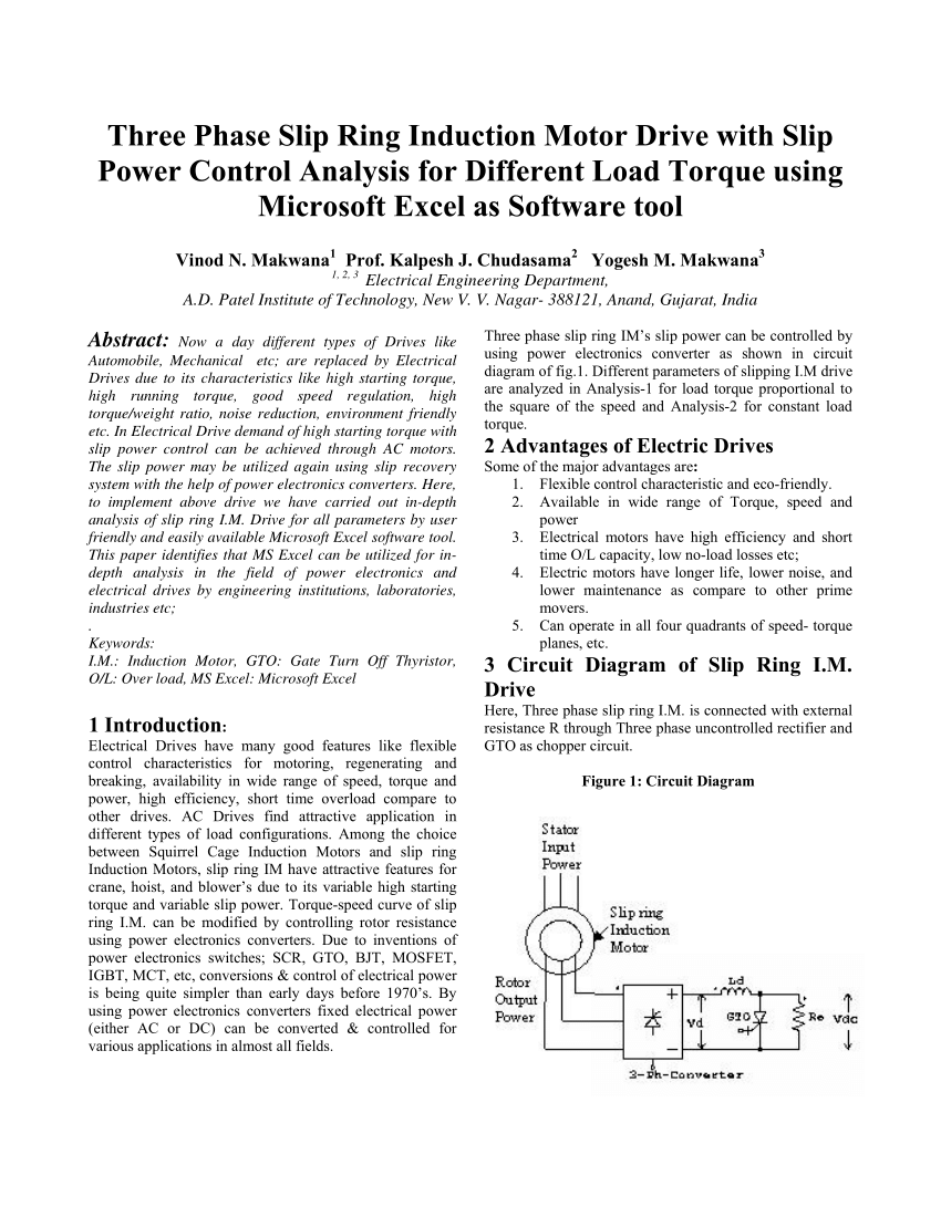 hight resolution of  pdf three phase slip ring induction motor drive with slip power control analysis for different load torque using microsoft excel as software tool