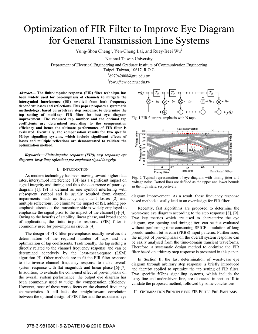 hight resolution of  pdf optimization of fir filter to improve eye diagram for general transmission line systems