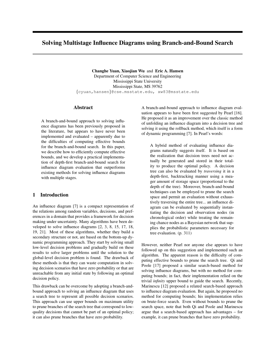 hight resolution of a new approach to influence diagrams evaluation radu marinescu request pdf