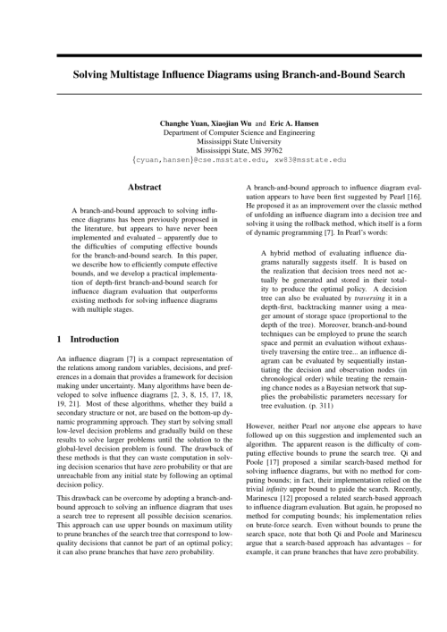 small resolution of a new approach to influence diagrams evaluation radu marinescu request pdf