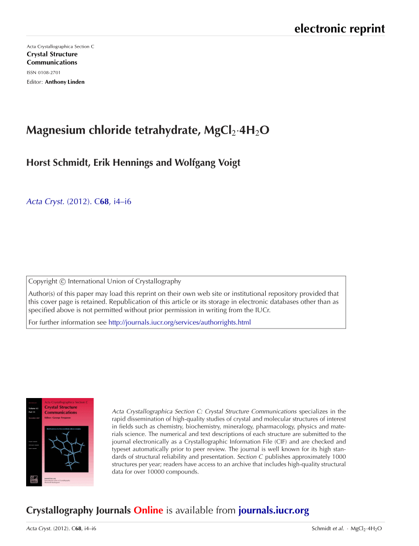 medium resolution of  pdf magnesium chloride tetrahydrate mgcl 2 4h 2 o
