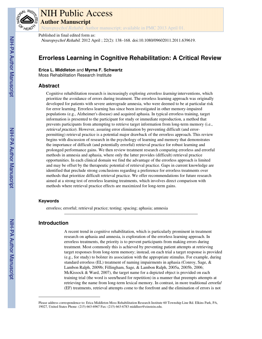 Errorless Learning In Cognitive Rehabilitation A