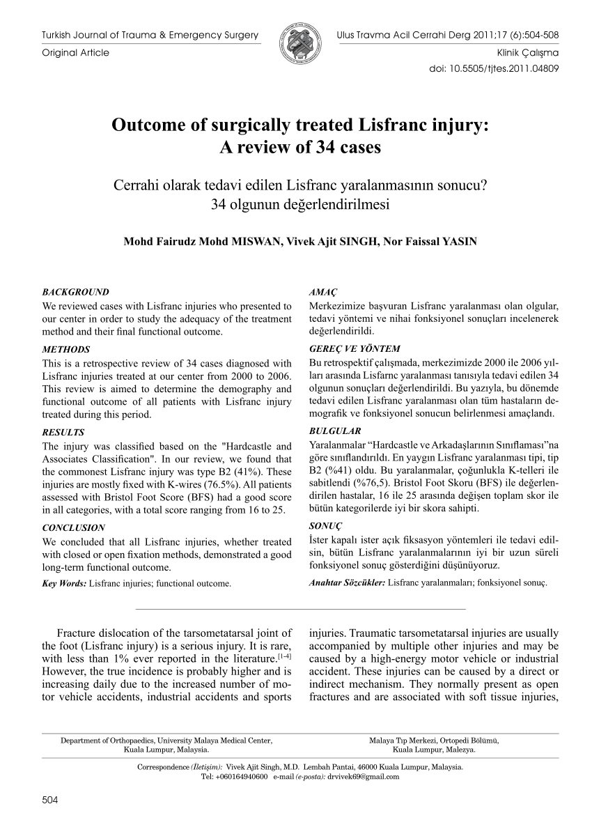 (PDF) Outcome of surgically treated Lisfranc injury: A review of 34 cases