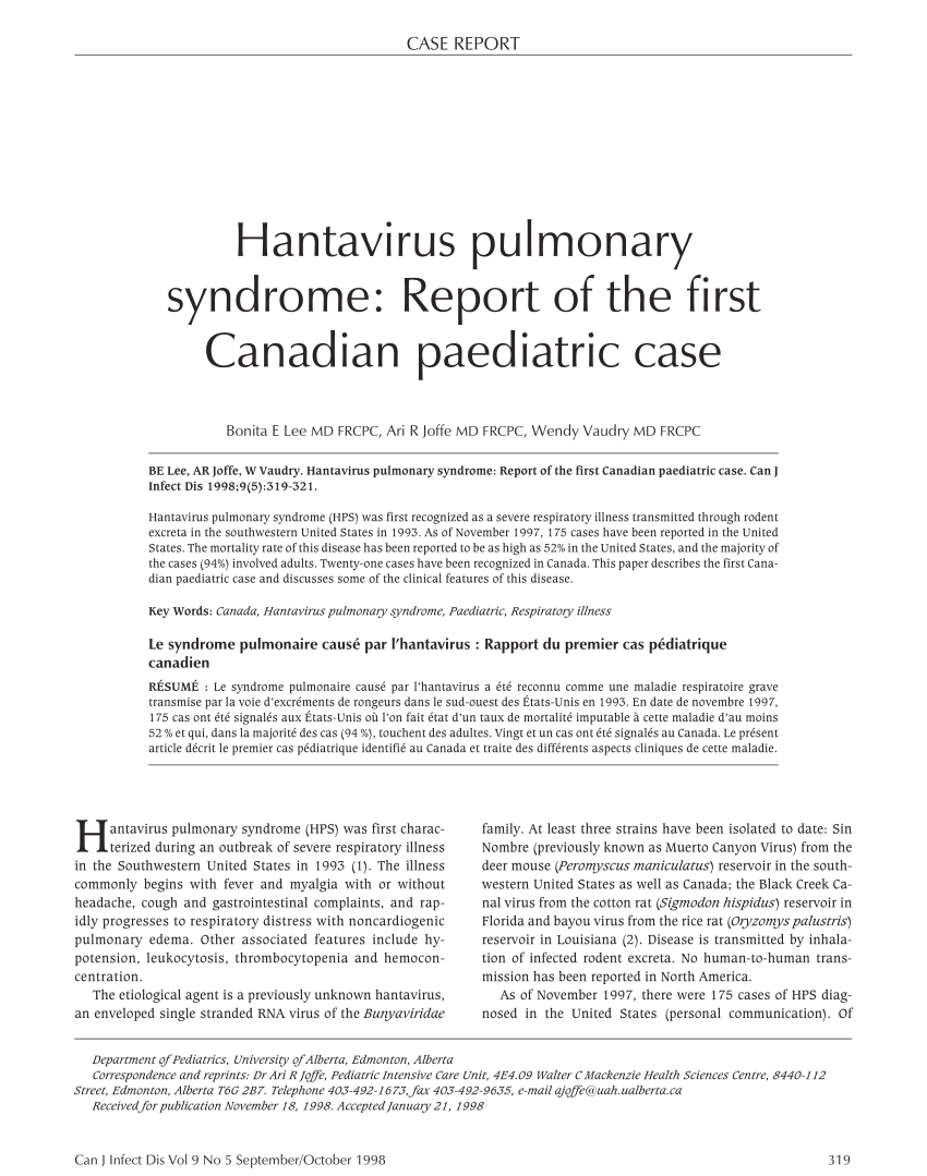 PDF) Hantavirus Pulmonary Syndrome: Report of the First Canadian ...