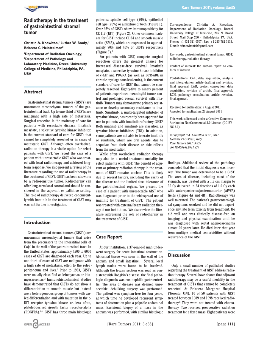 (PDF) Radiotherapy in the treament of gastrointestinal
