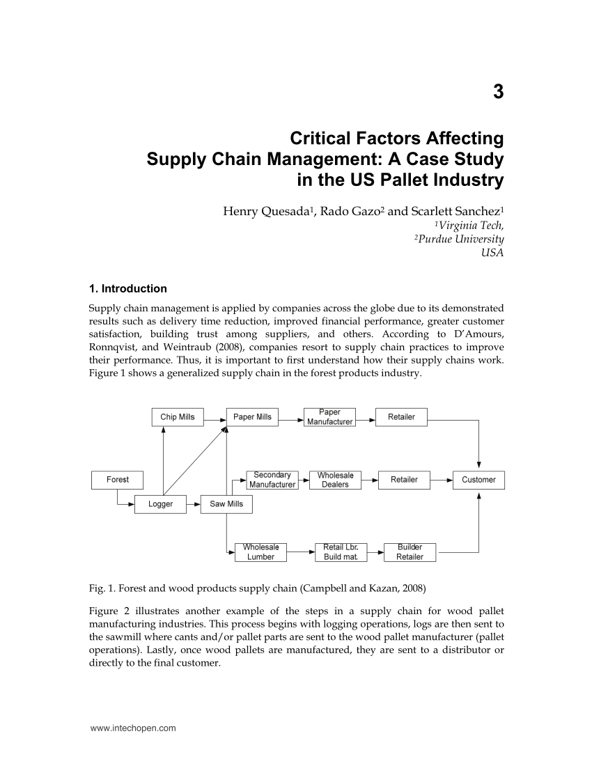 PDF Critical Factors Affecting Supply Chain Management A Case
