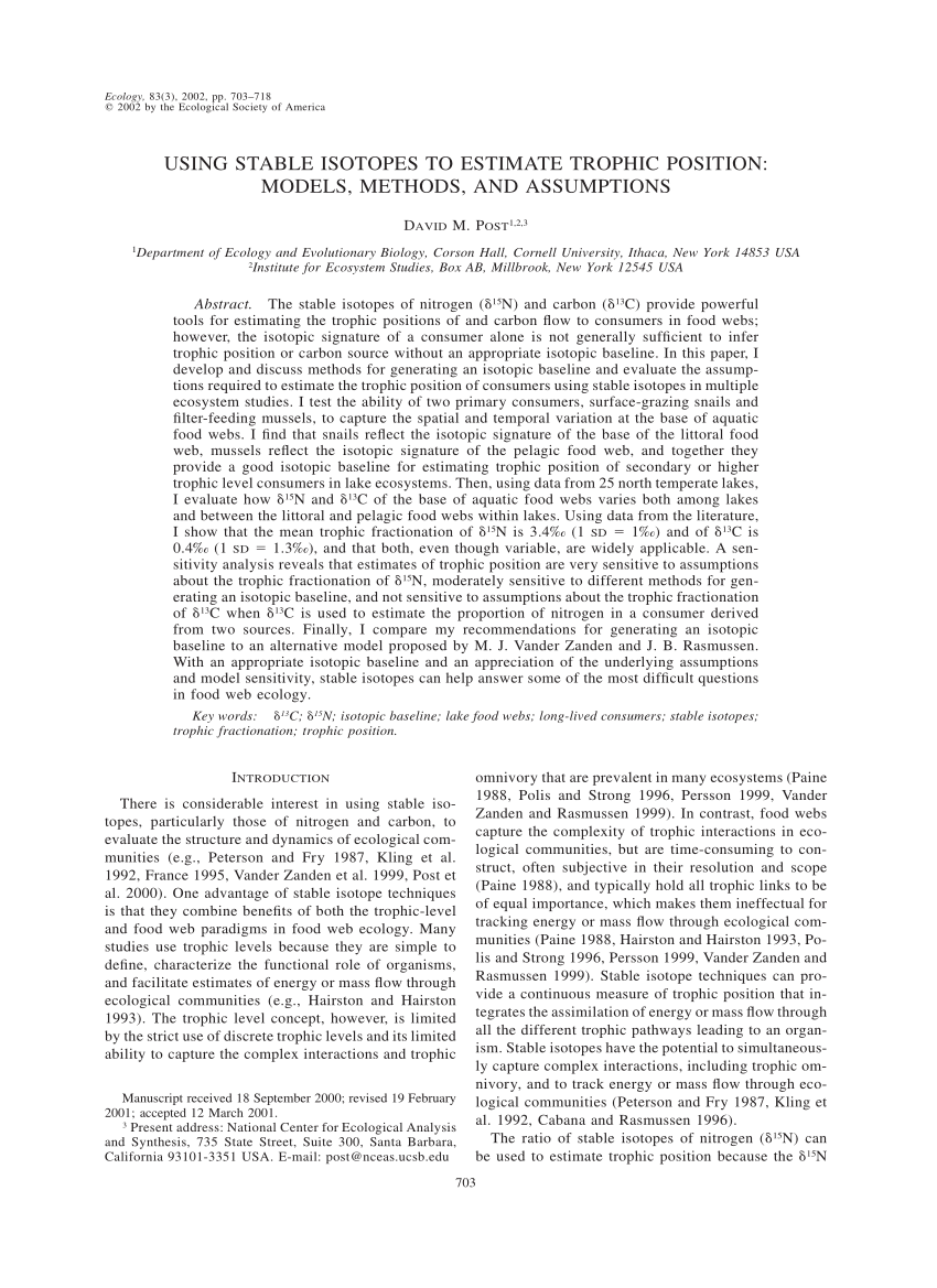 (PDF) Using Stable Isotopes to Estimate Trophic Position