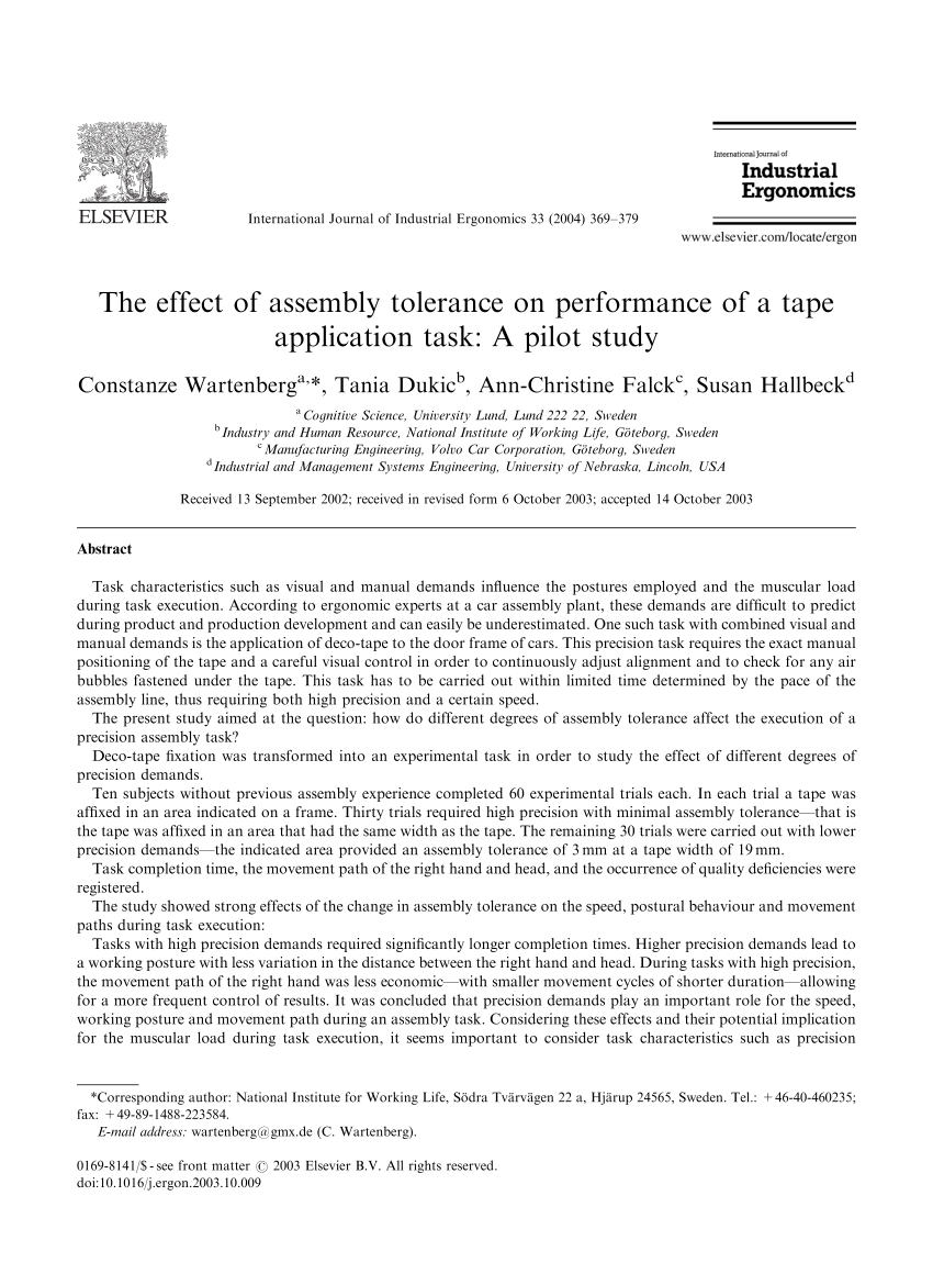 hight resolution of  pdf the effect of assembly tolerance on performance of a tape application task a pilot study