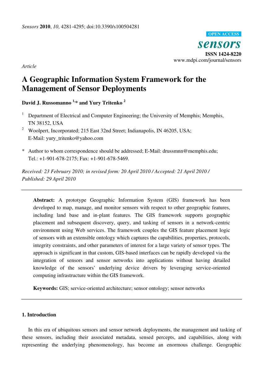 medium resolution of  pdf a geographic information system framework for the management of sensor deployments