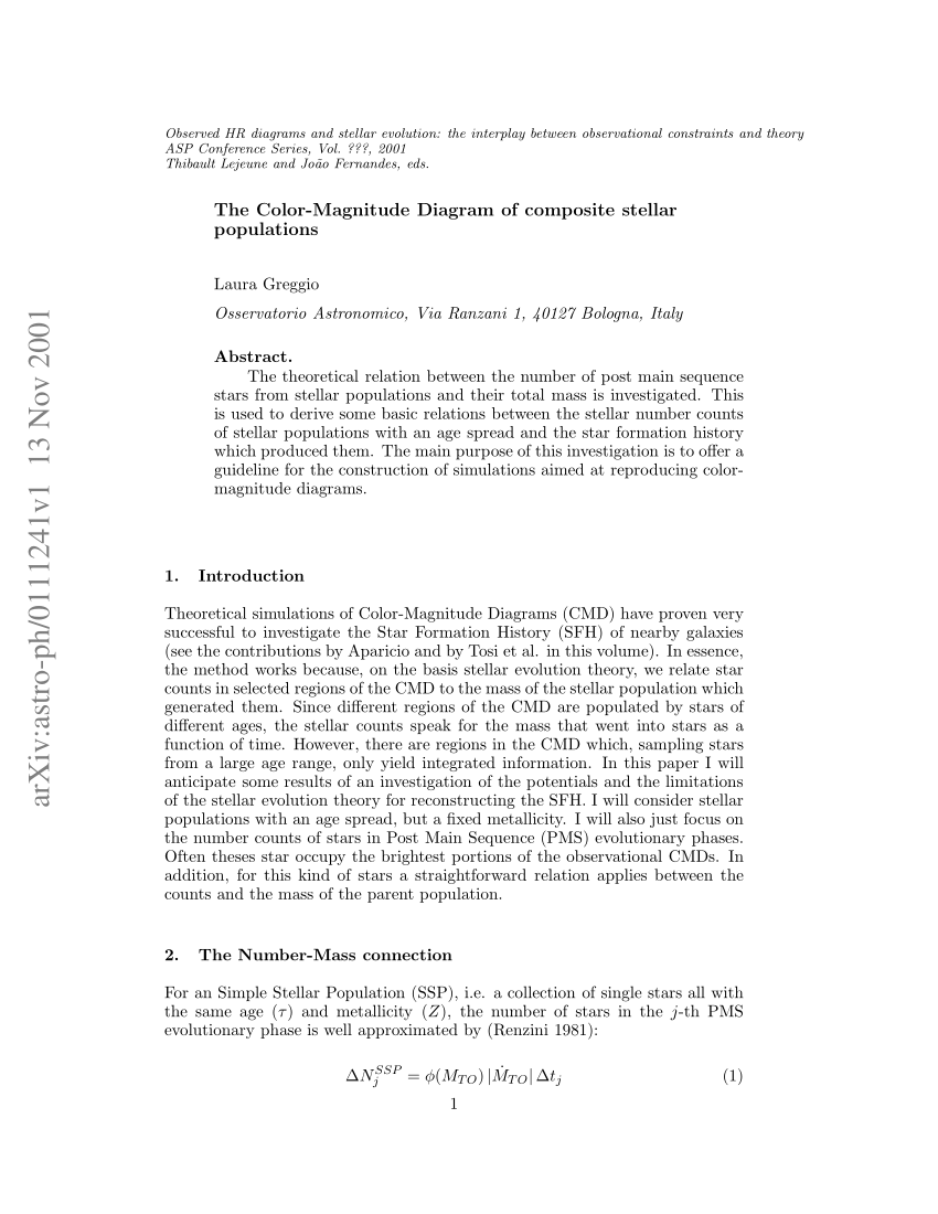 hight resolution of  pdf the color magnitude diagram of composite stellar populations