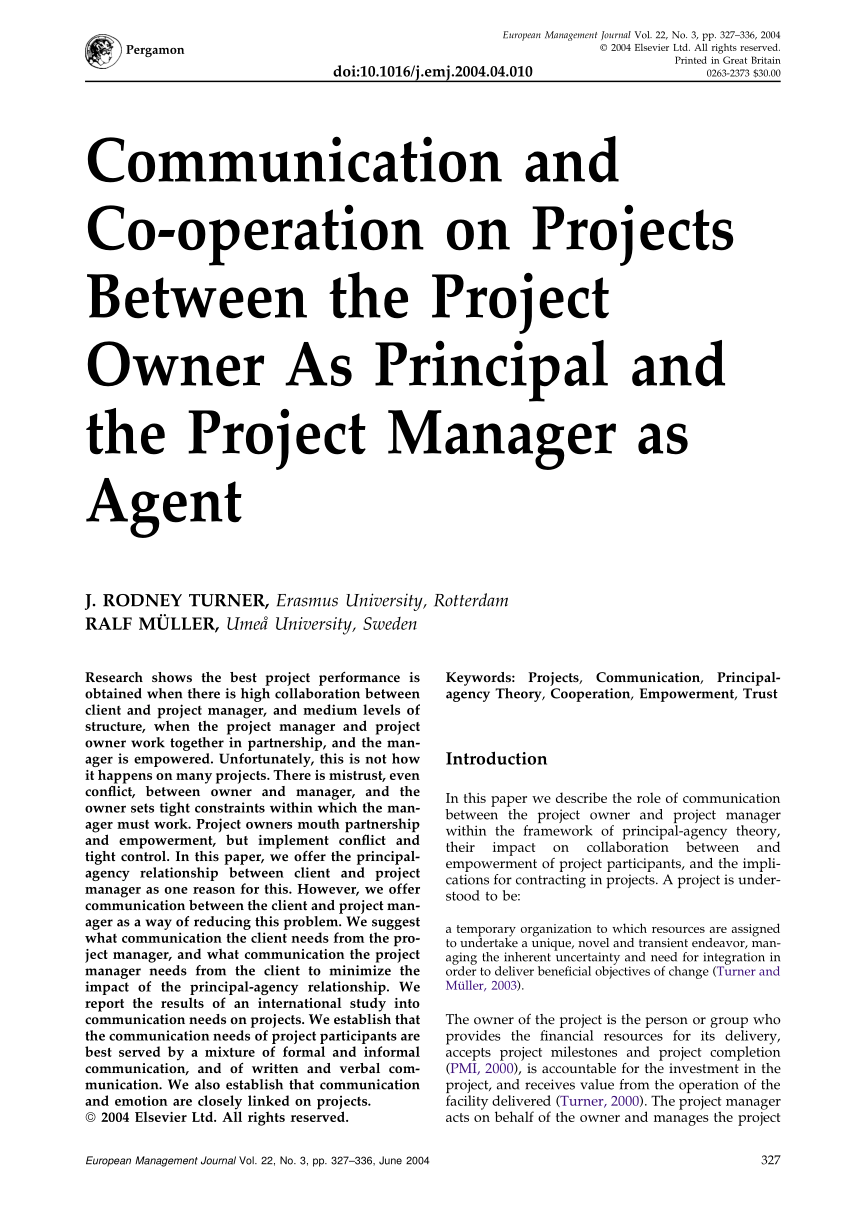 (PDF) Communication and Co-operation on Projects Between