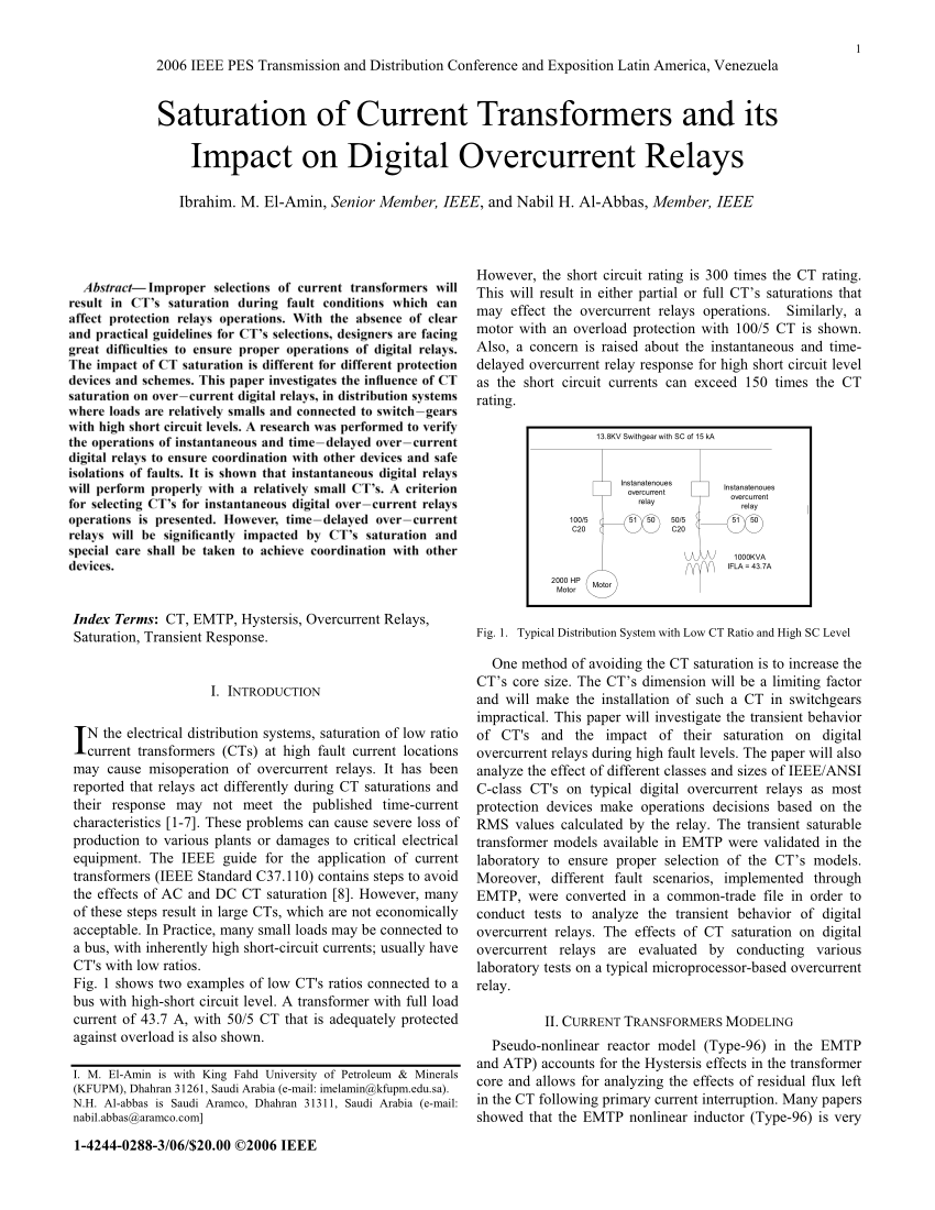 hight resolution of  pdf saturation of current transformers and its impact on digital overcurrent relays