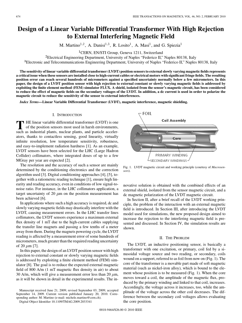 hight resolution of  pdf design of a linear variable differential transformer with high rejection to external interfering magnetic field