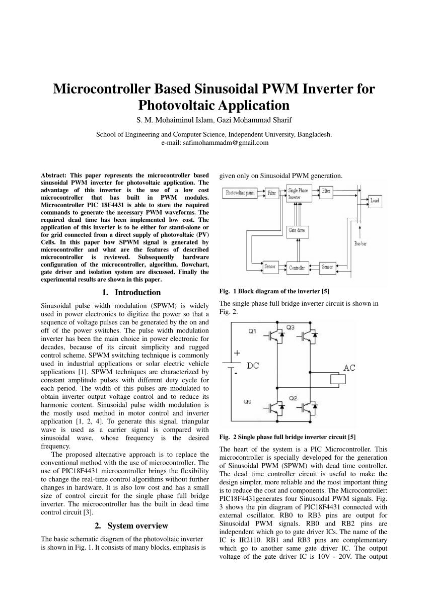 microcontroller based inverter circuit diagram 1996 honda accord fuse box pdf sinusoidal pwm for photovoltaic application