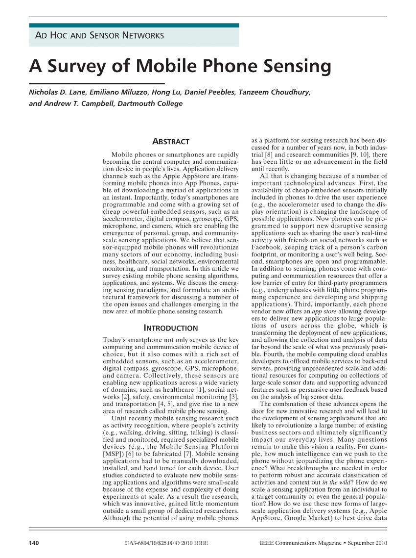 (PDF) A survey of mobile phone sensing. IEEE Commun Mag