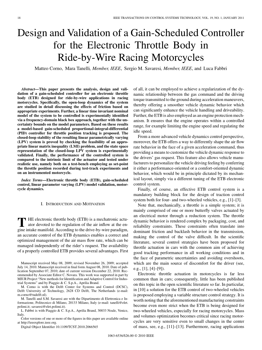 hight resolution of  pdf design and validation of a gain scheduled controller for the electronic throttle body in ride by wire racing motorcycles