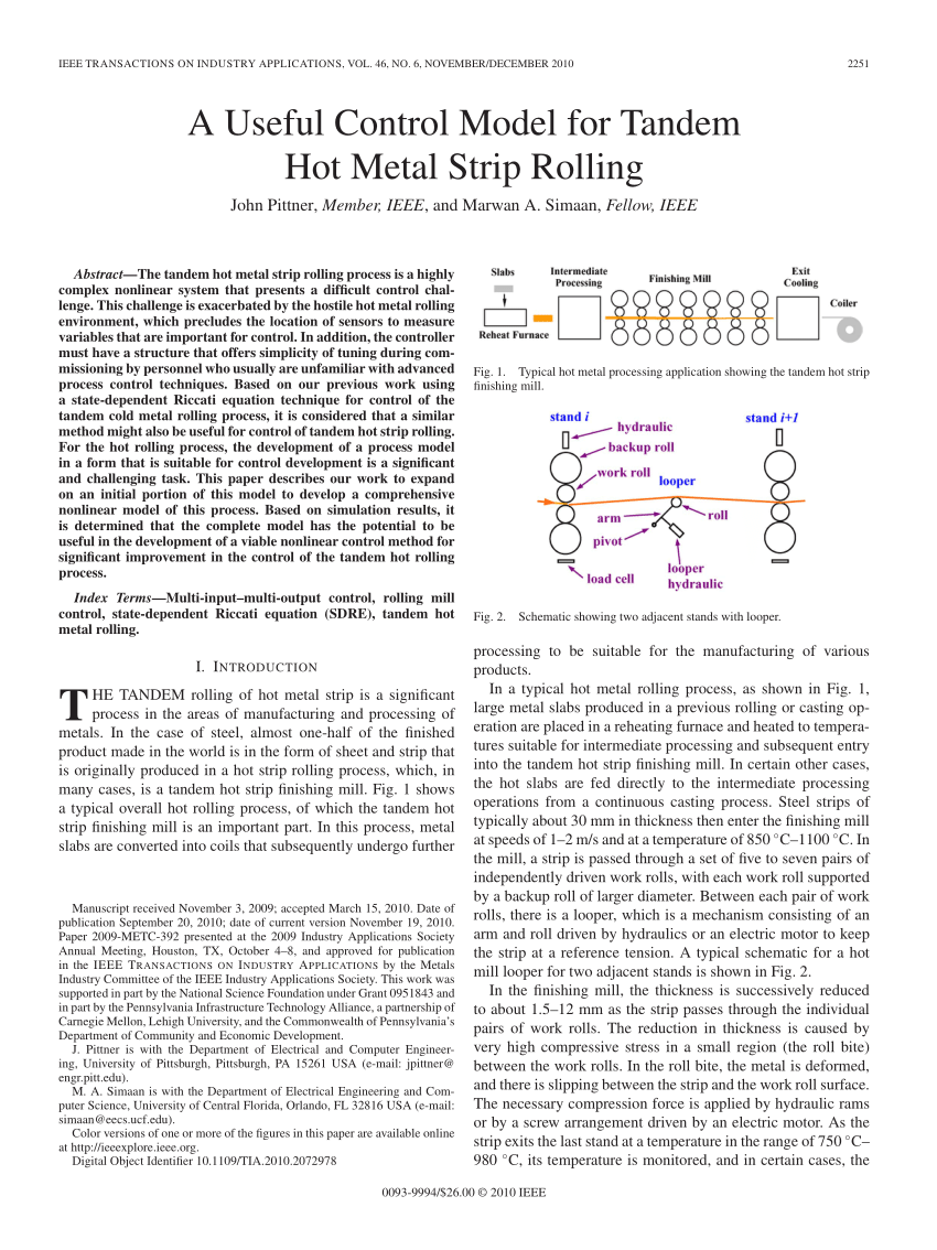 hight resolution of  pdf a useful control model for tandem hot metal strip rolling