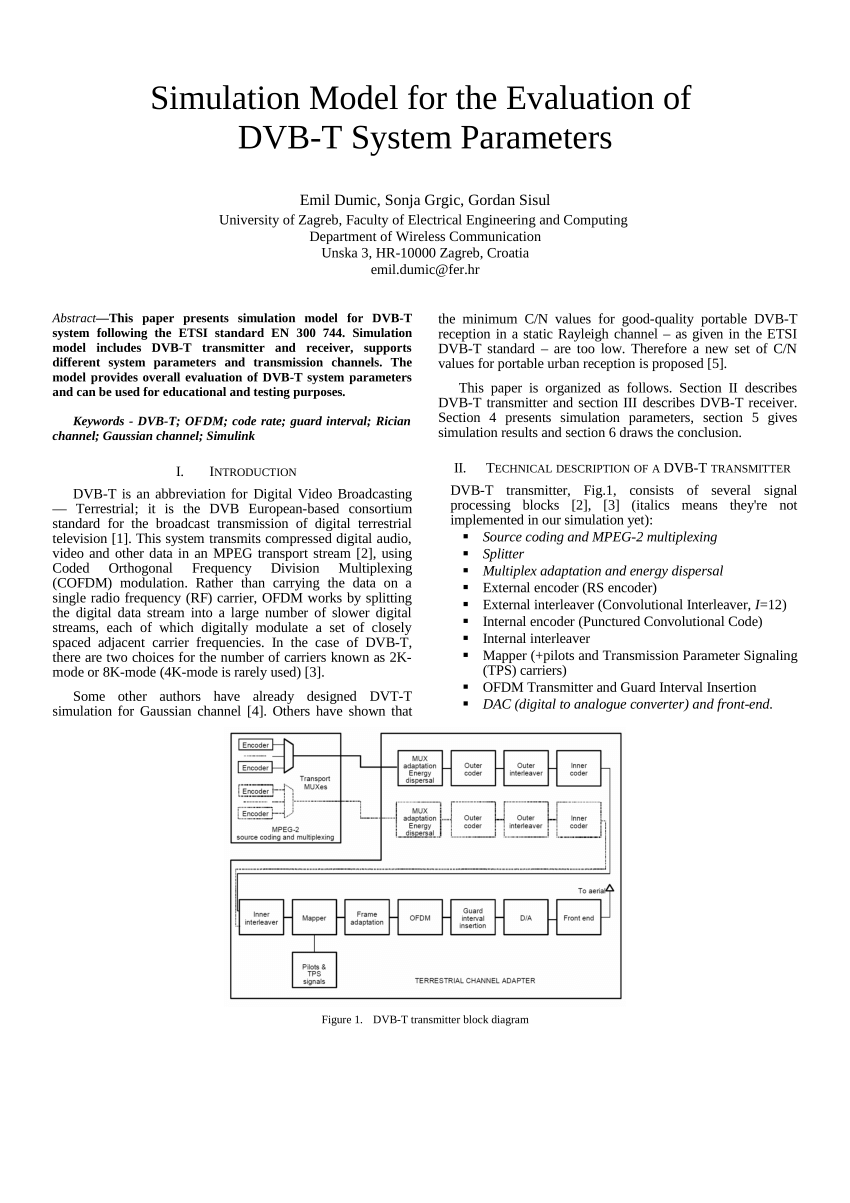 hight resolution of  pdf simulation model for the evaluation of dvb t system parameters