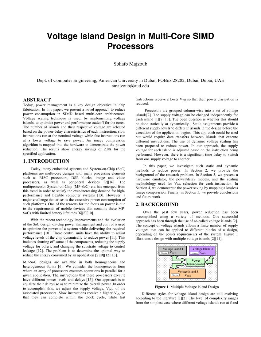 (PDF) Voltage island design in multi-core SIMD processors