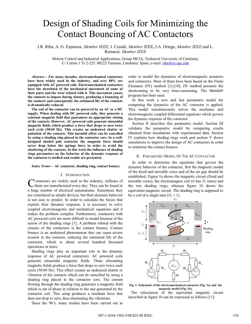 hight resolution of  pdf design of shading coils for minimizing the contact bouncing of ac contactors