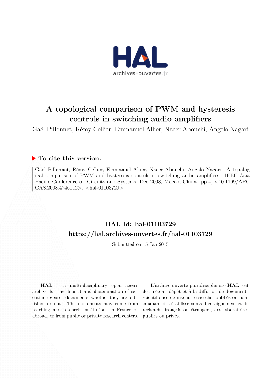hight resolution of  pdf a topological comparison of pwm and hysteresis controls in switching audio amplifiers