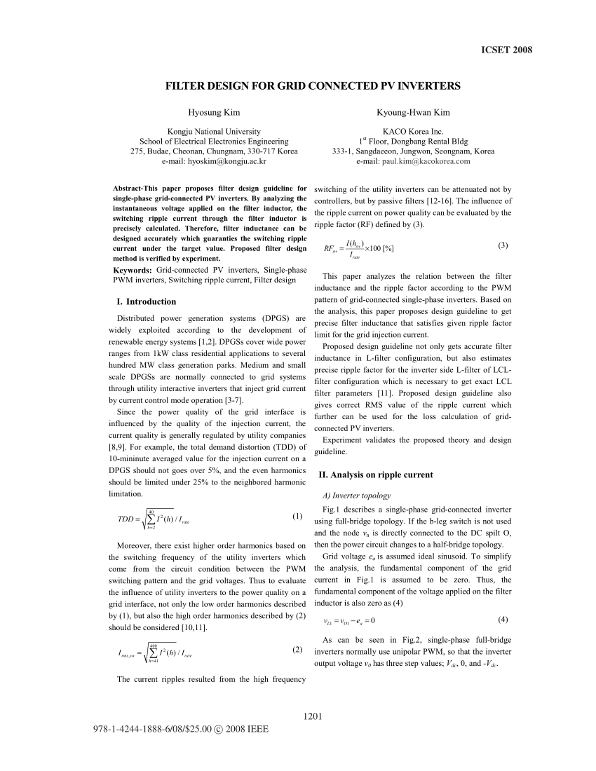 medium resolution of power loss analysis for single phase grid connected pv inverters request pdf