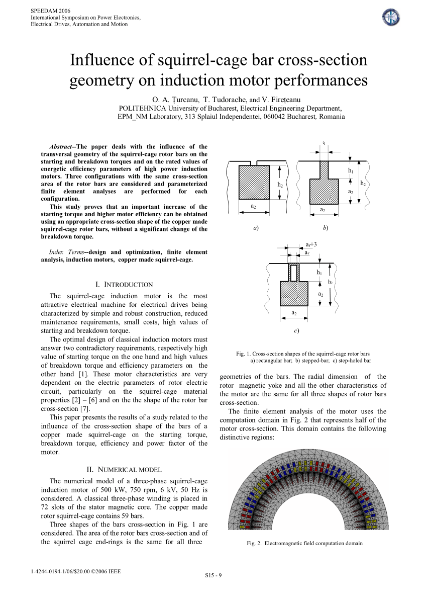 medium resolution of  pdf influence of squirrel cage bar cross section geometry on induction motor performances