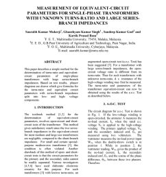 pdf measurement of equivalent circuit parameters for single phase transformers with unknown turns ratio and large series branch impedances [ 850 x 1100 Pixel ]