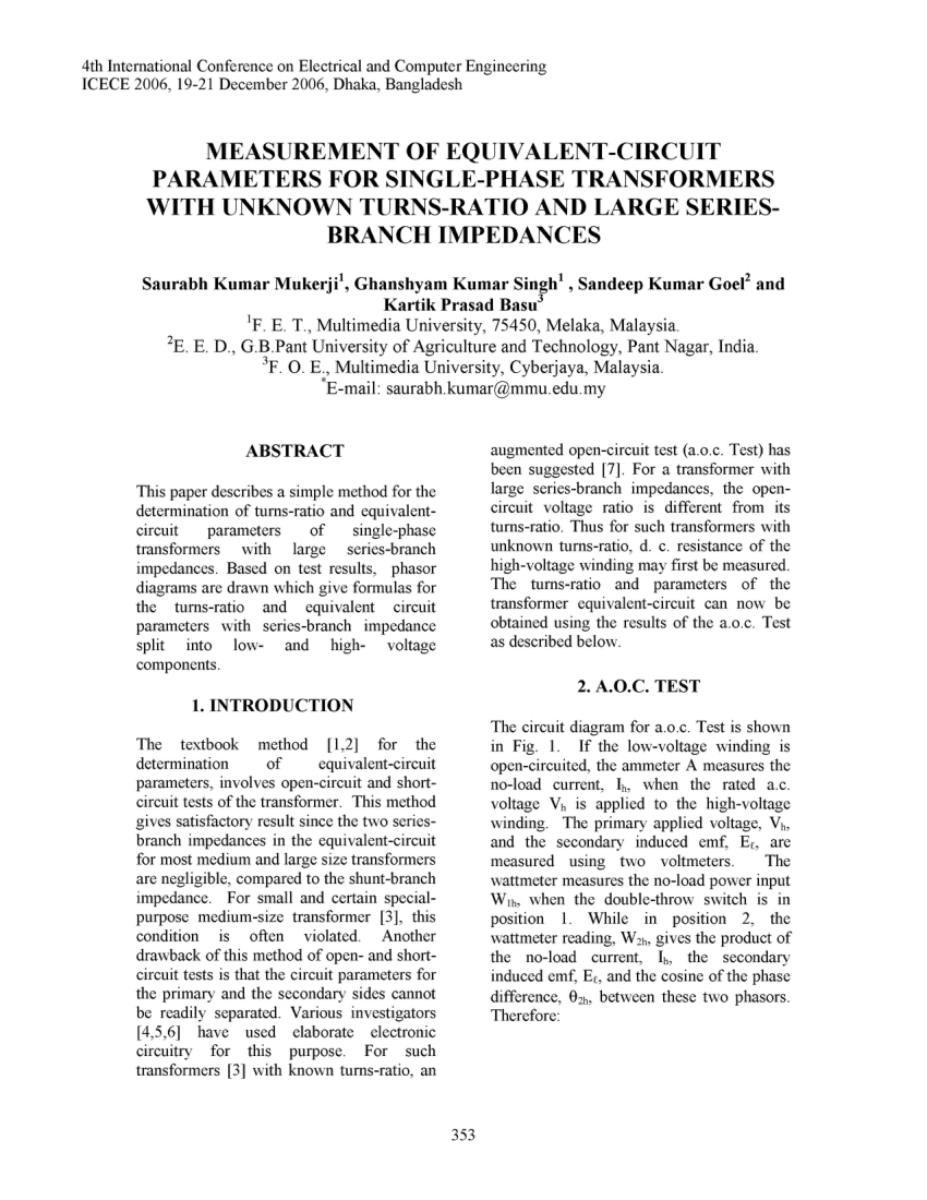 hight resolution of  pdf measurement of equivalent circuit parameters for single phase transformers with unknown turns ratio and large series branch impedances