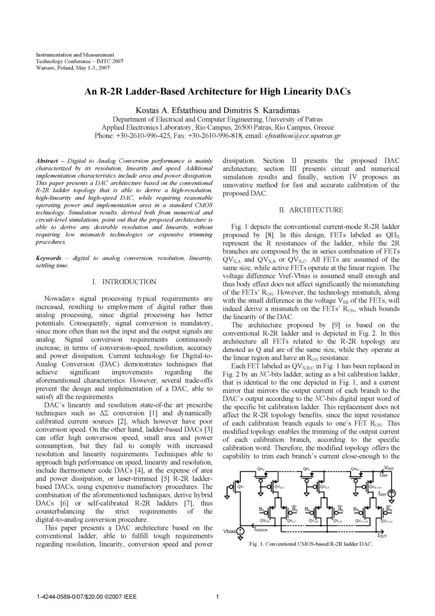 hight resolution of  pdf an r 2r ladder based architecture for high linearity dacs