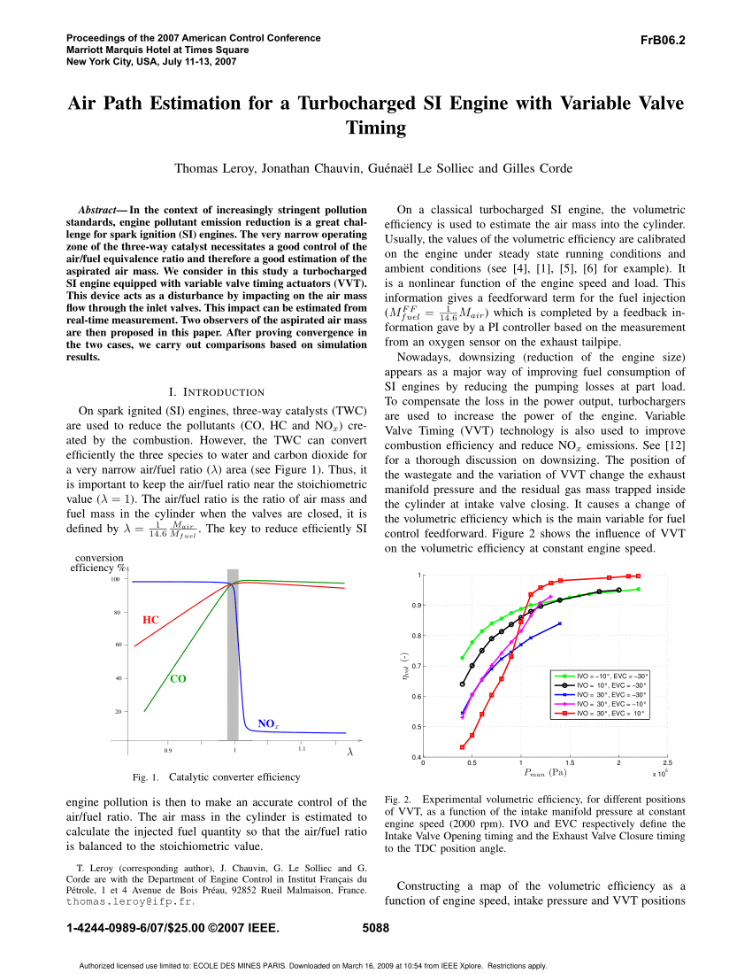 hight resolution of  pdf air path estimation for a turbocharged si engine with variable valve timing