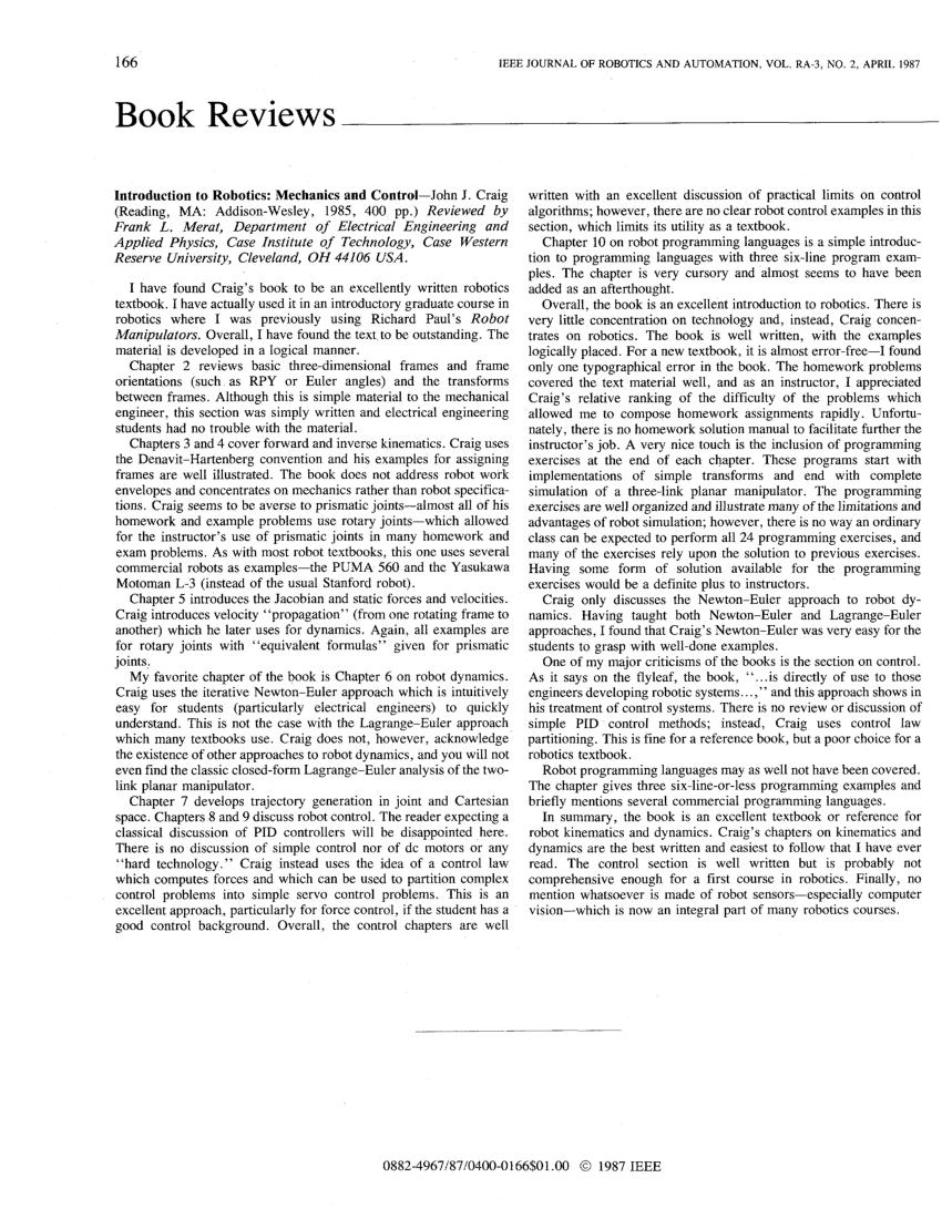 (PDF) Introduction to robotics: Mechanics and control