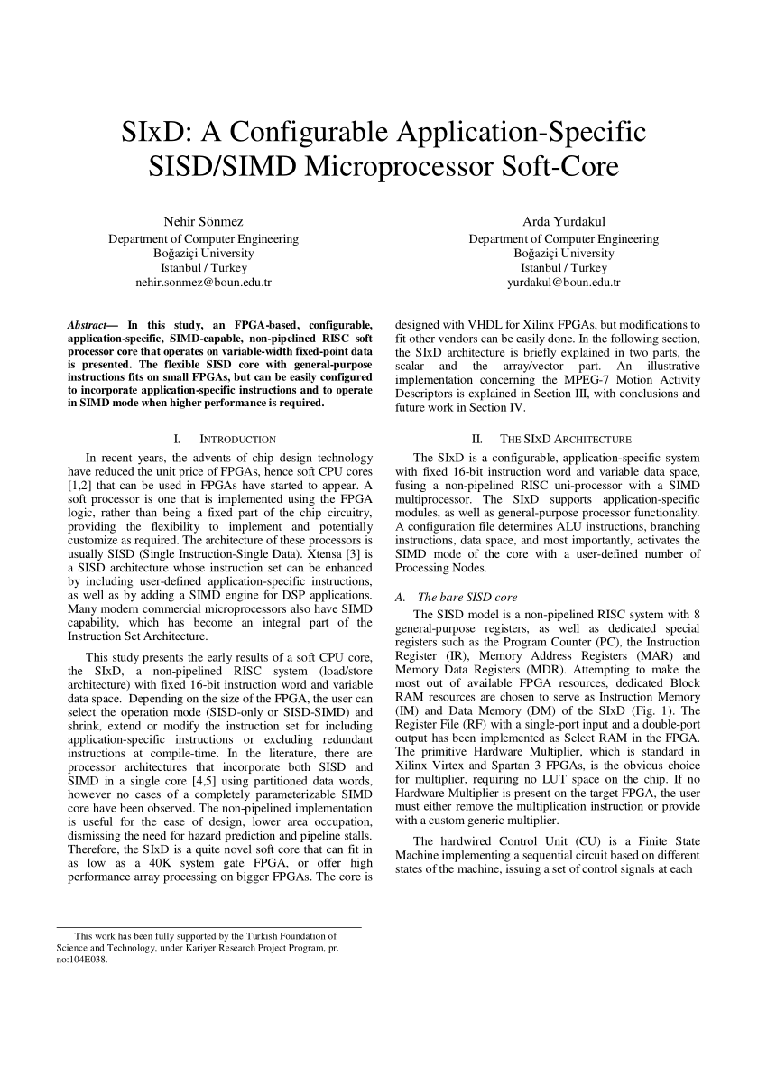 (PDF) SIxD: A Configurable Application-Specific SISD/SIMD Microprocessor Soft-Core